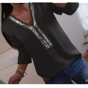 NWOT black and silver sequin polyester blouse